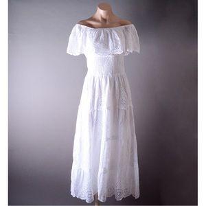 White Off Shoulder Beach Boho Gown Long Maxi Dress